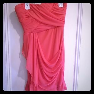 Hot Pink Strapless Juniors Dress